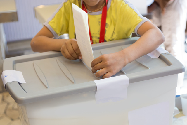 Little boy voting on democratic parliamentary election.