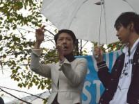 蓮舫代表。口だけは勇ましいが。=2015年9月、宮下公園での反安保集会 撮影:筆者=