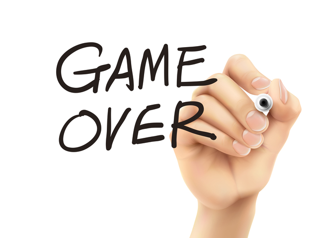 game over words written by hand